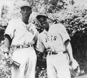 Lorenzo Loze (l.) in his Eagles baseball uniform and Richy John (r.) in his Jets uniform.
